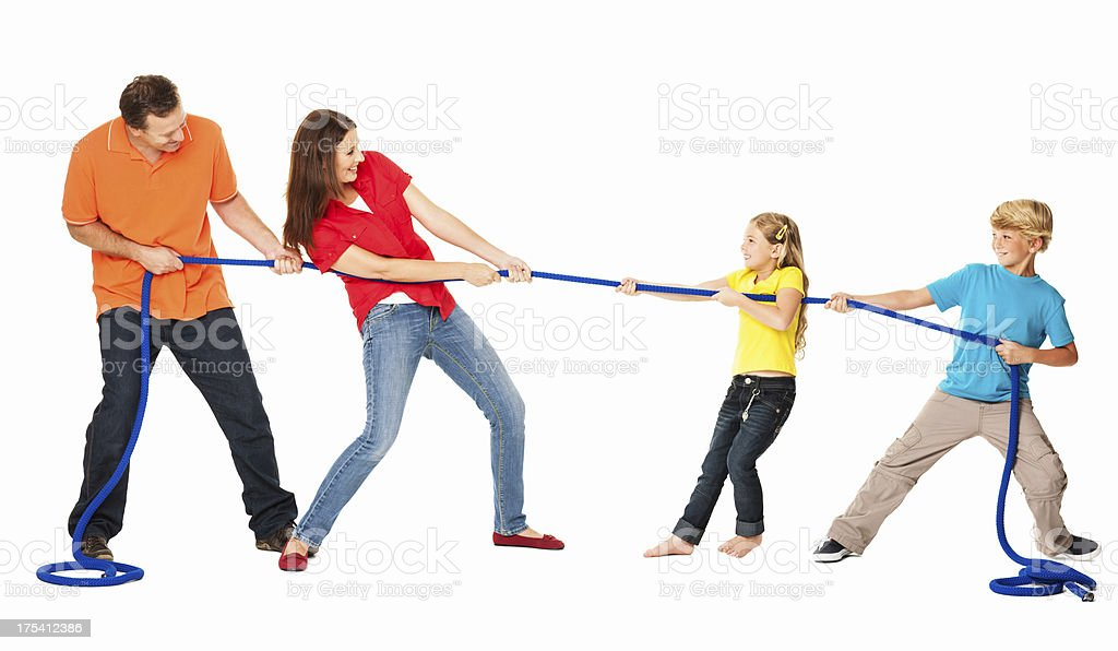Family Playing Tug Of War - Isolated stock photo