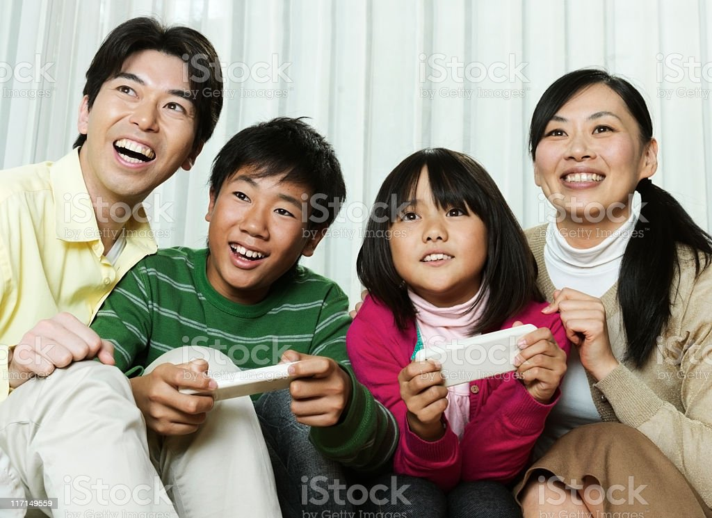 Family Playing Video Games royalty-free stock photo