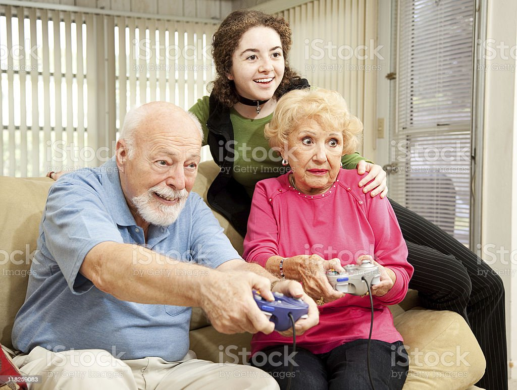 Family Plays Video Games royalty-free stock photo