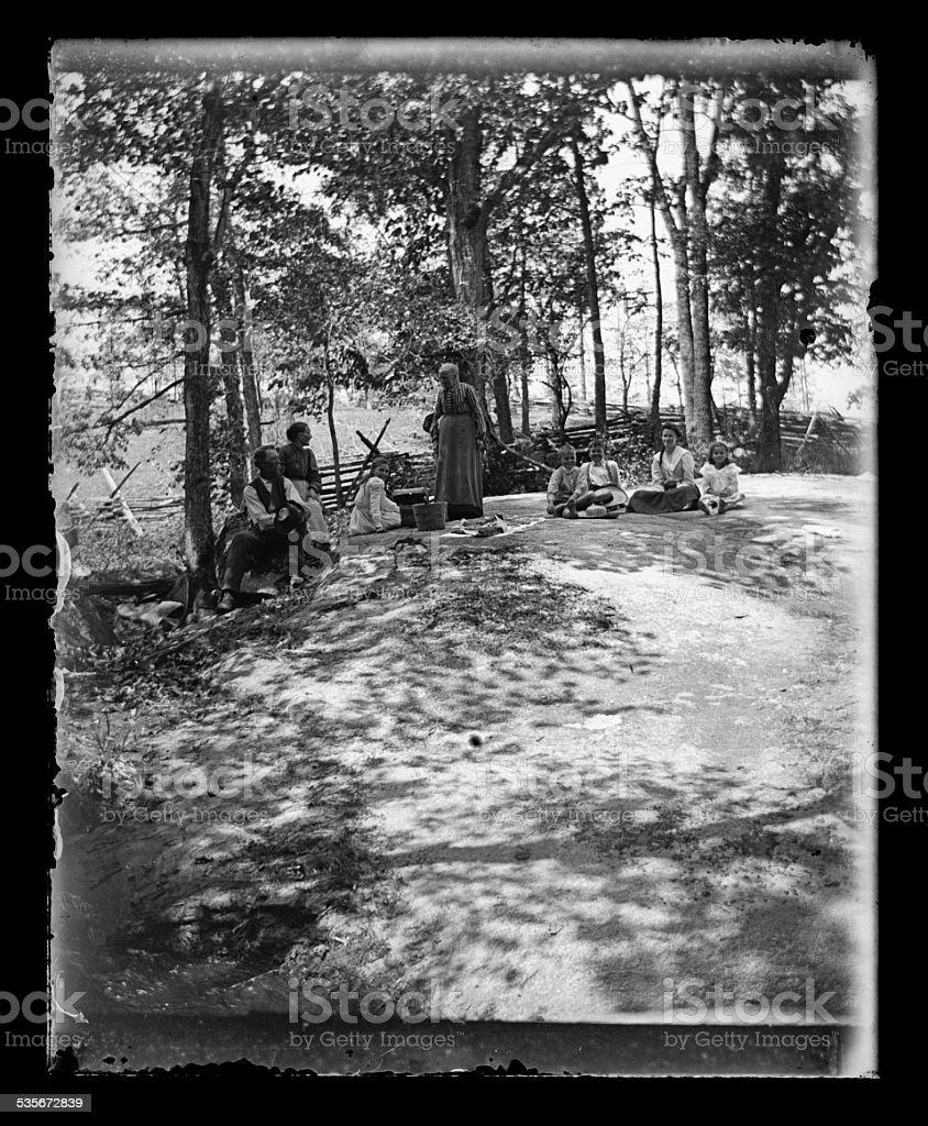 Family Portait Having a Picnic, Circa 1890 stock photo