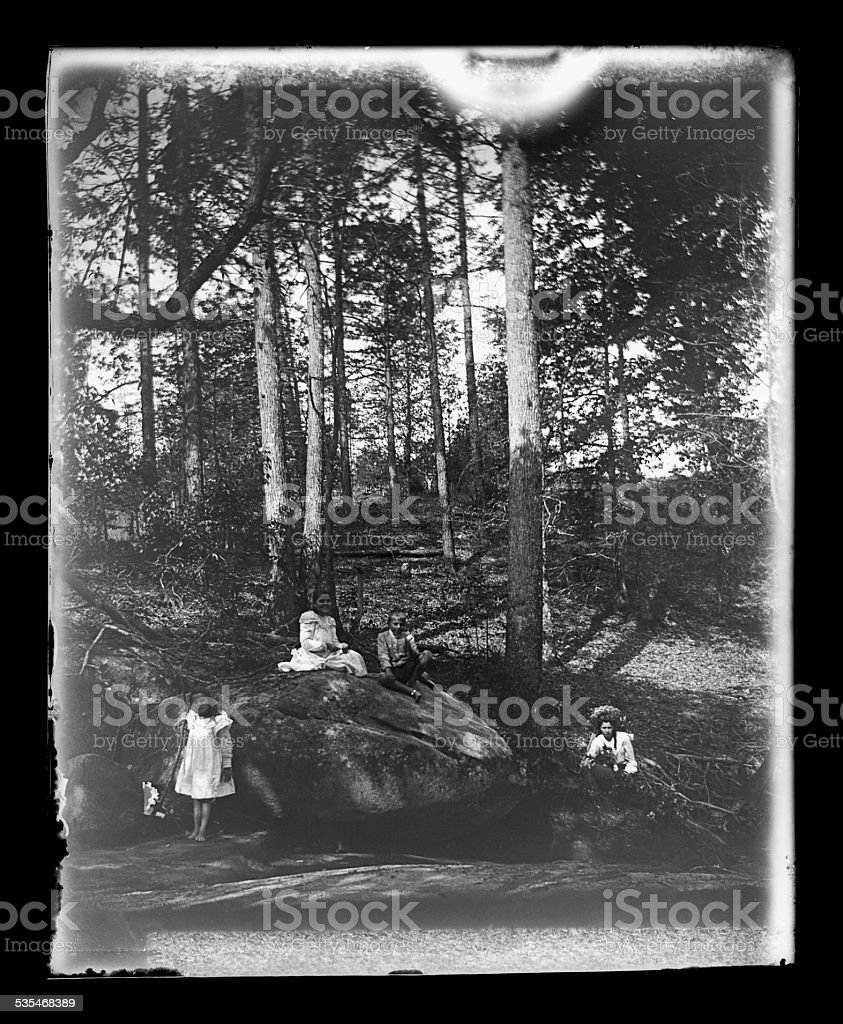 Family Portait in the Woods by a Stream, Circa 1890 stock photo