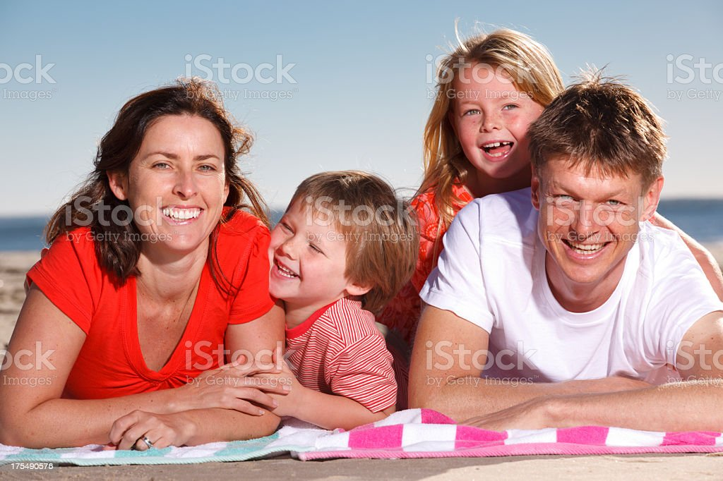 Family Portrait at the Beach stock photo