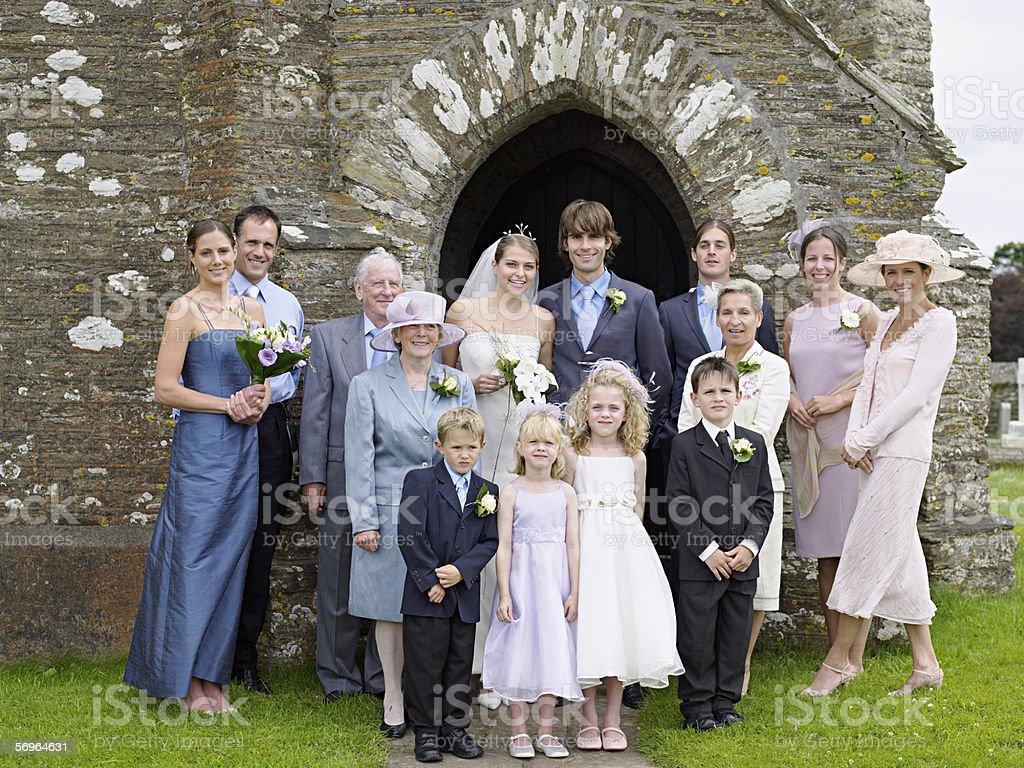 Family portrait at wedding royalty-free stock photo