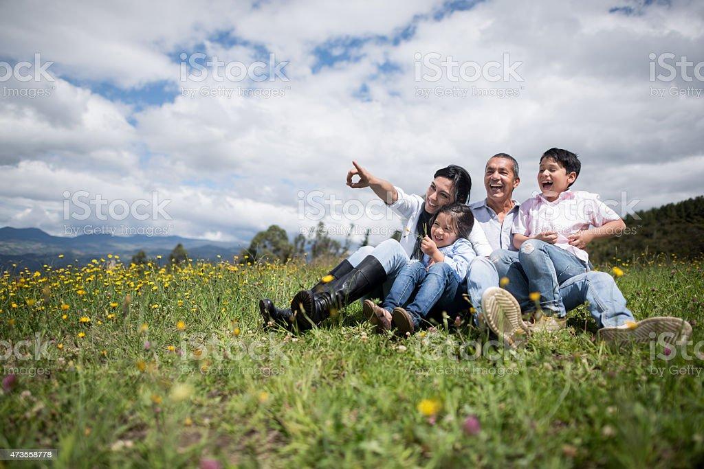 Family portrait enjoying the countryside stock photo
