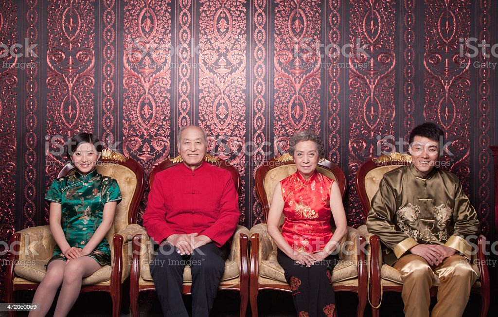 Family Portrait in Traditional Chinese Clothing stock photo