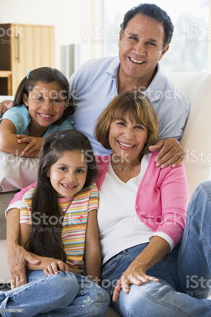 Family portrait of grandparent with their grandchildren royalty-free stock photo