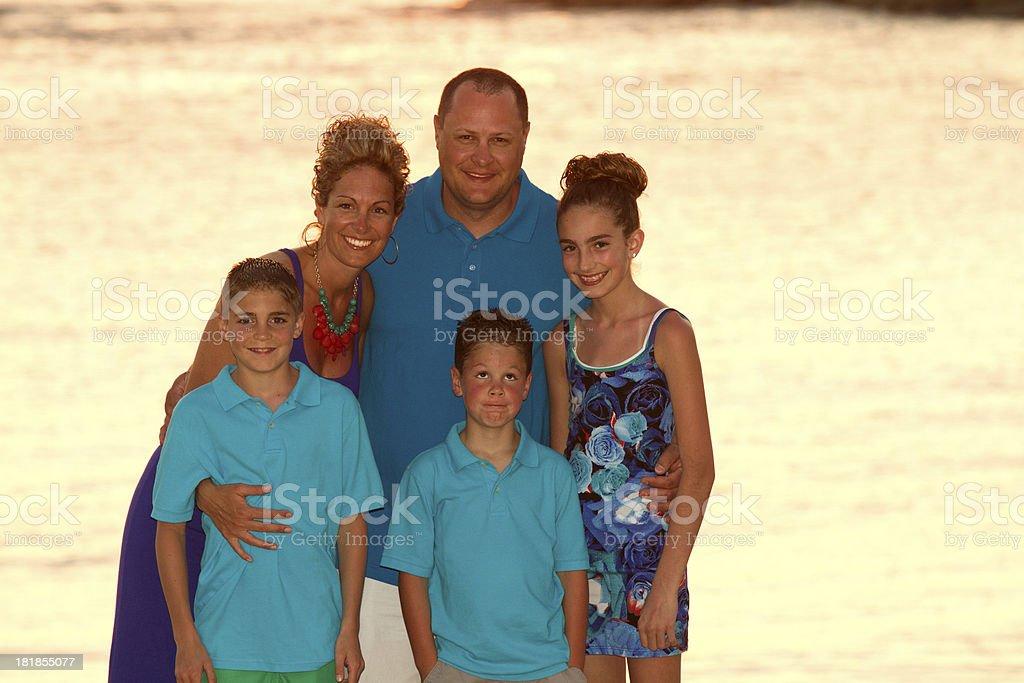 Family Portrait on Beach stock photo