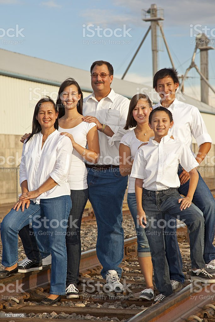 Family Portrait photographed in an industrial location stock photo