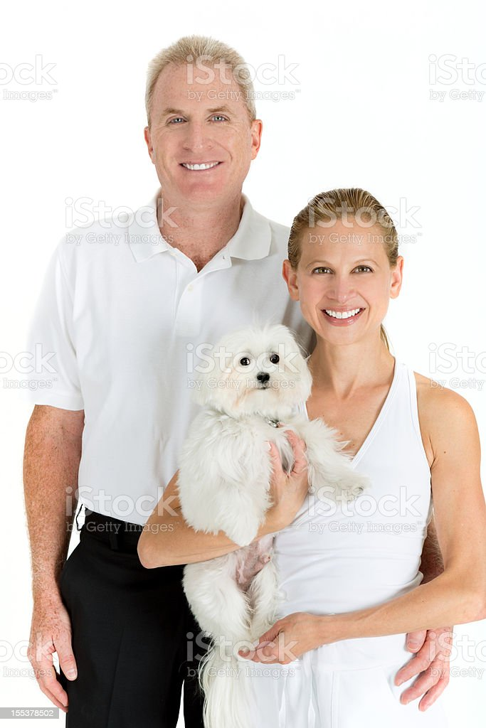 Family portrait with maltese dog royalty-free stock photo