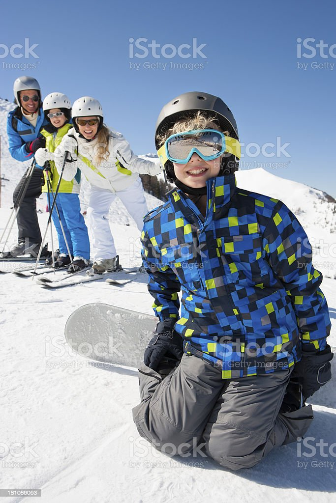 Family Pose Whilst Skiing royalty-free stock photo