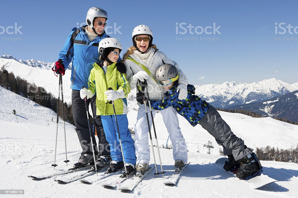 Family Posing Whilst Skiing royalty-free stock photo