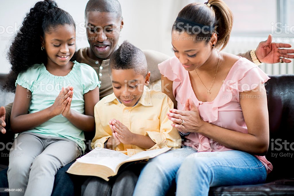 Family Prayer stock photo