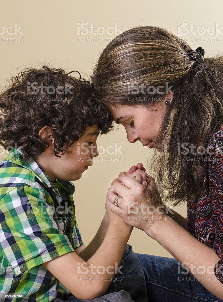 Family Praying stock photo