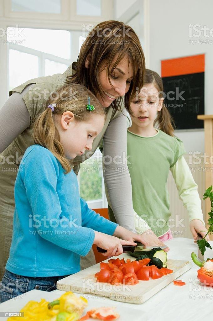 Family preparing food royalty-free stock photo
