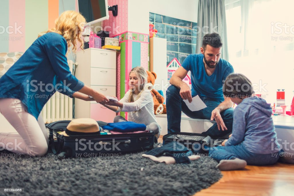 Family preparing for road trip stock photo