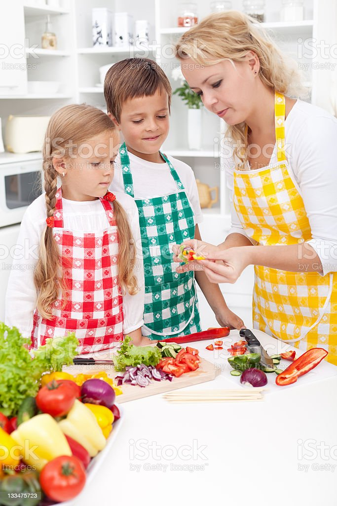 Family preparing healthy meal royalty-free stock photo