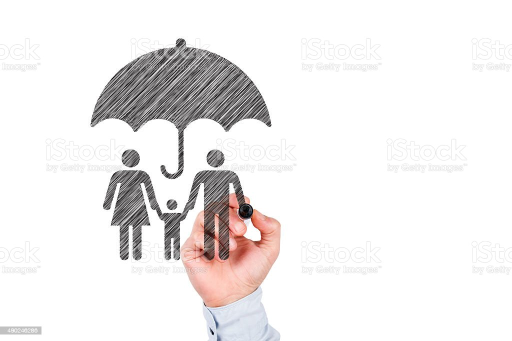 Family Protection Concept on Whiteboard stock photo