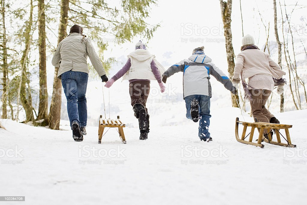 Family pulling sleds through snow royalty-free stock photo