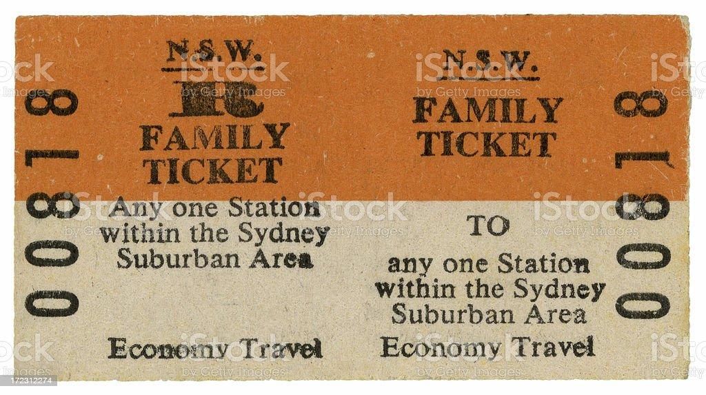 Family Railway Ticket stock photo