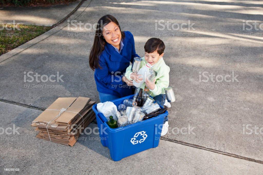Family recycling royalty-free stock photo