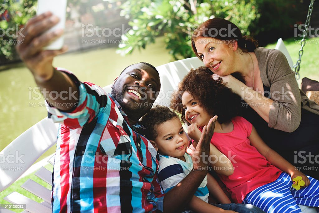 Family Relax Happiness Selfie Photo Concept stock photo