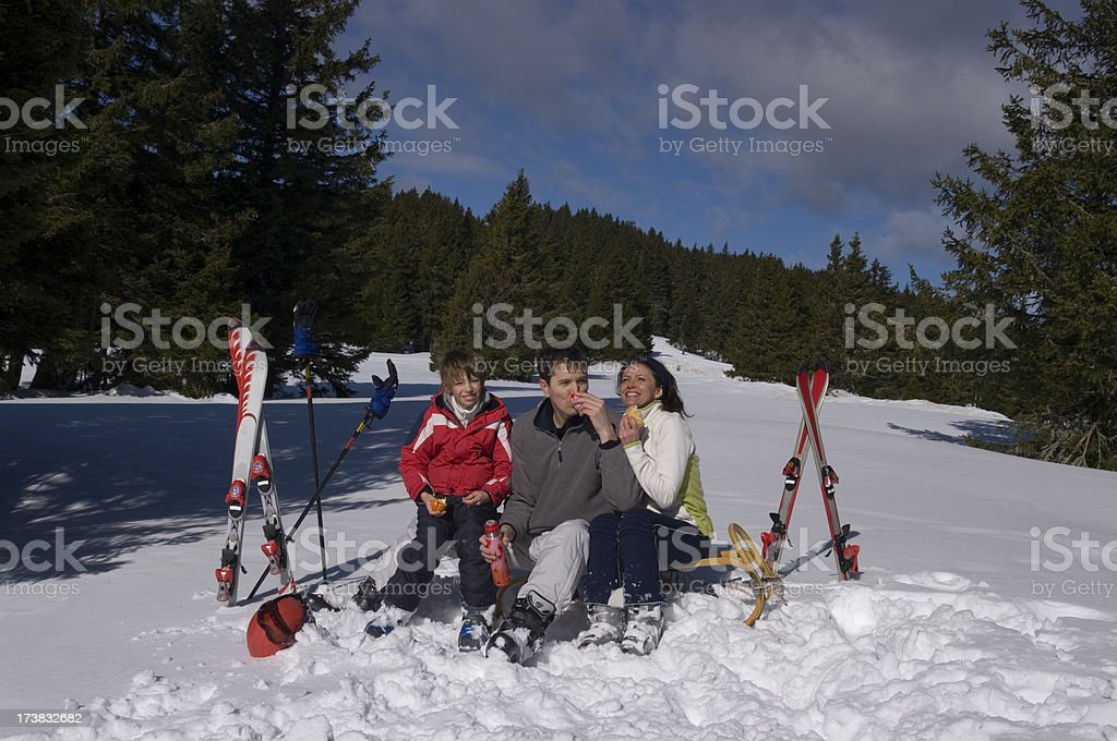 Family rest on beautiful winter day royalty-free stock photo