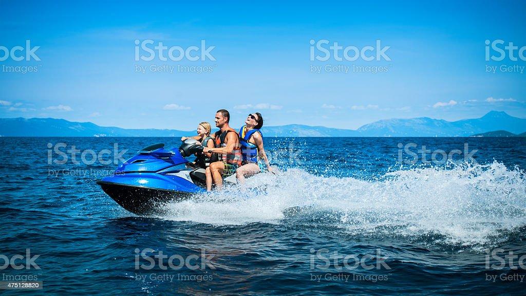 Family Riding a Jet Boat stock photo