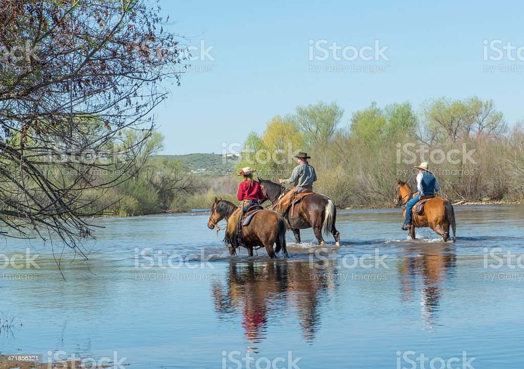 Family Riding down the river stock photo