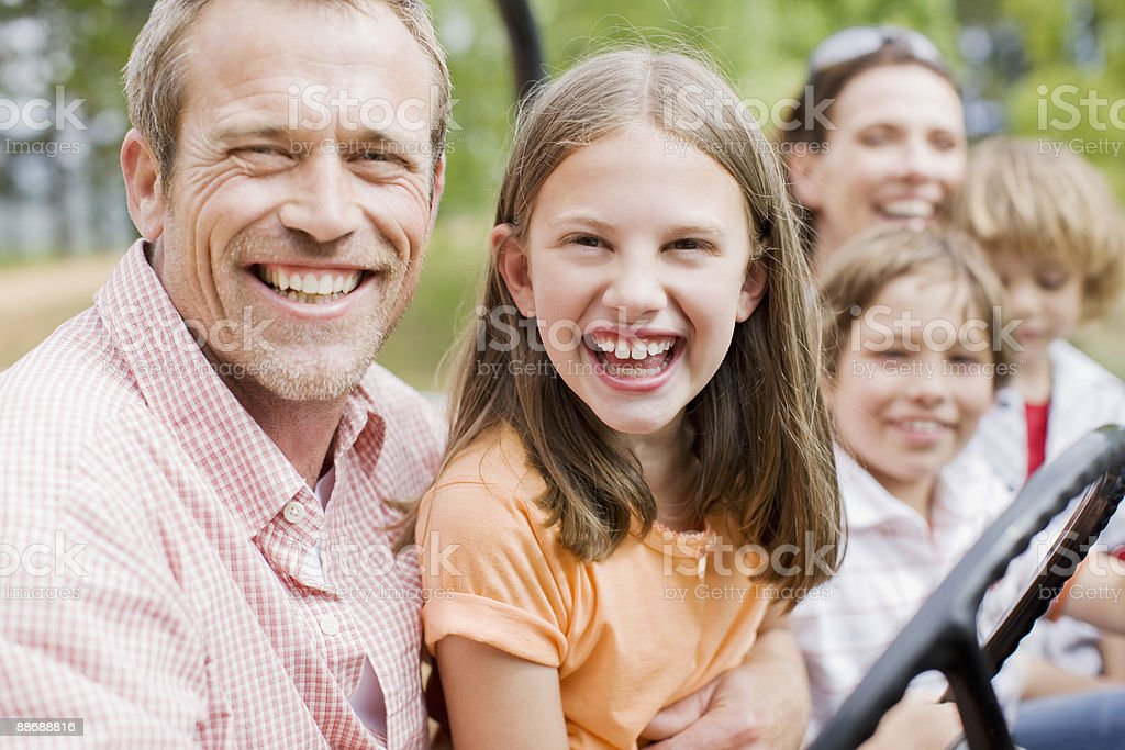 Family riding in jeep royalty-free stock photo