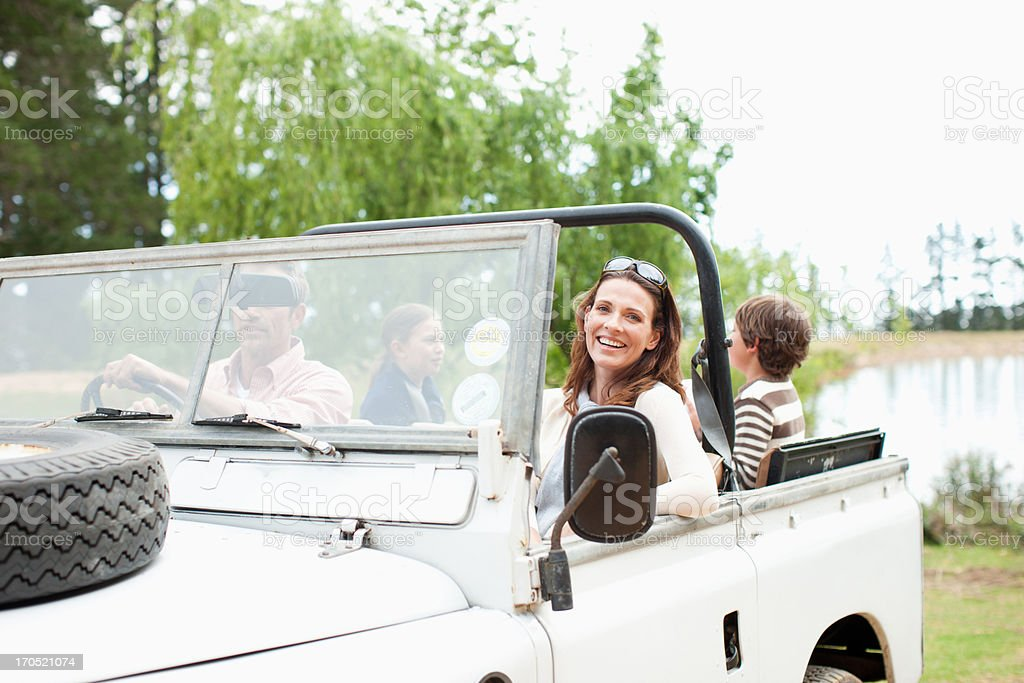Family riding in vehicle royalty-free stock photo
