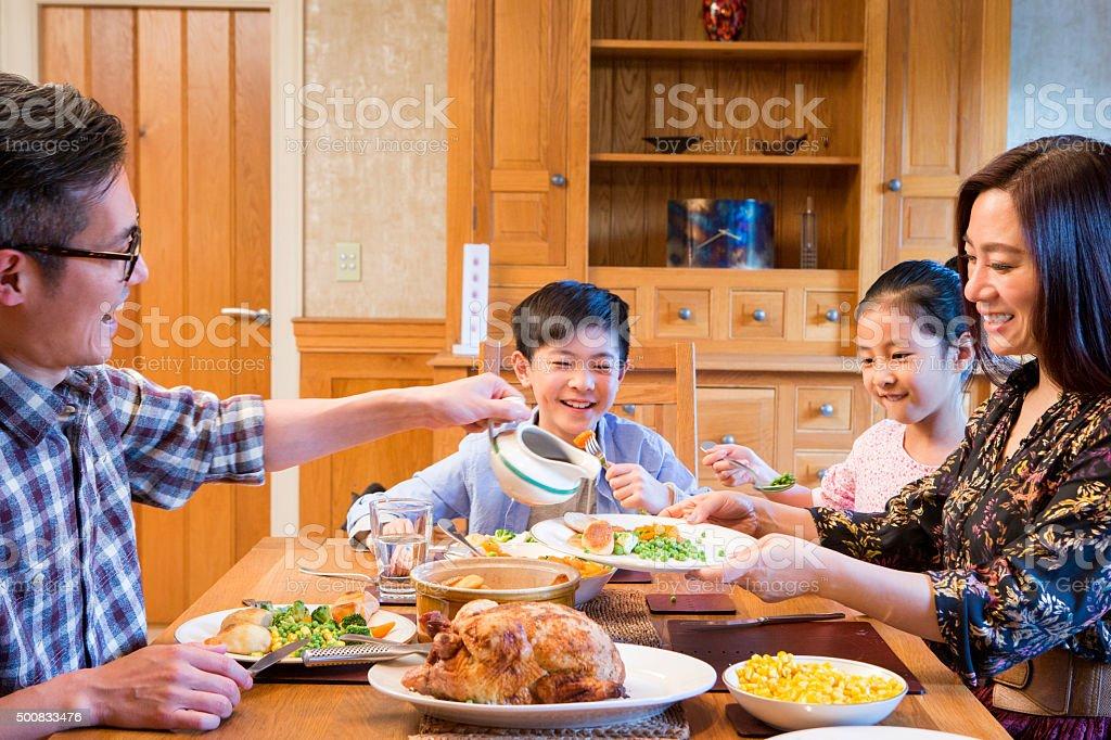 Family Roast Dinner stock photo