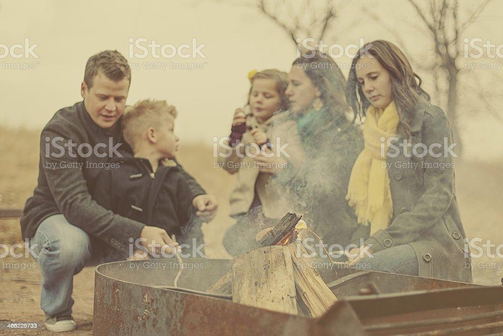 Family Roasting Marshmallows royalty-free stock photo
