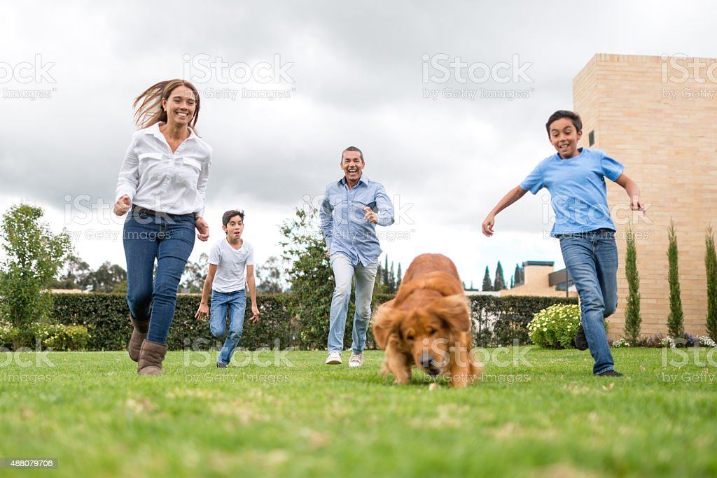 Family running outdoors with their dog stock photo