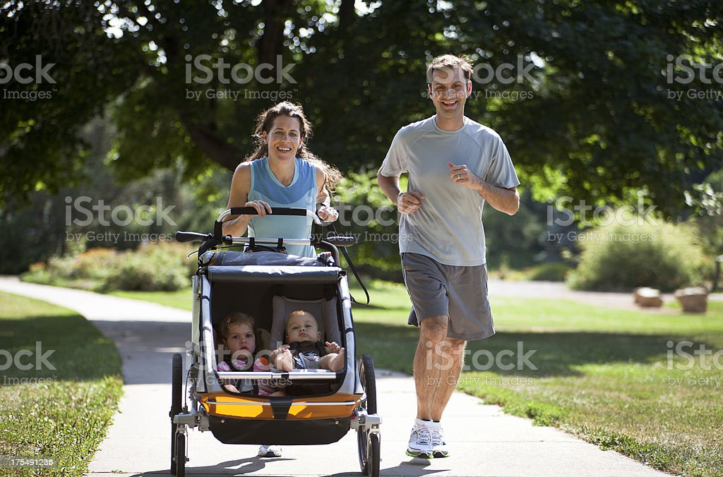 Family Running stock photo