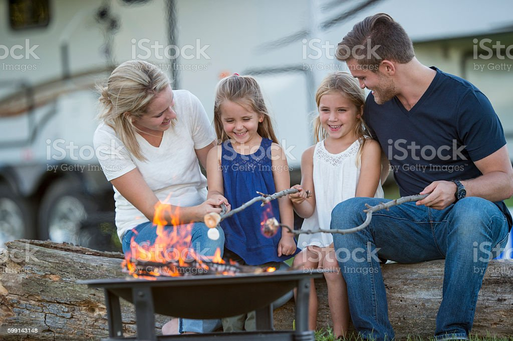 Family RV Camping Trip stock photo