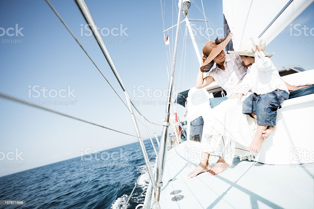 family sailing stock photo