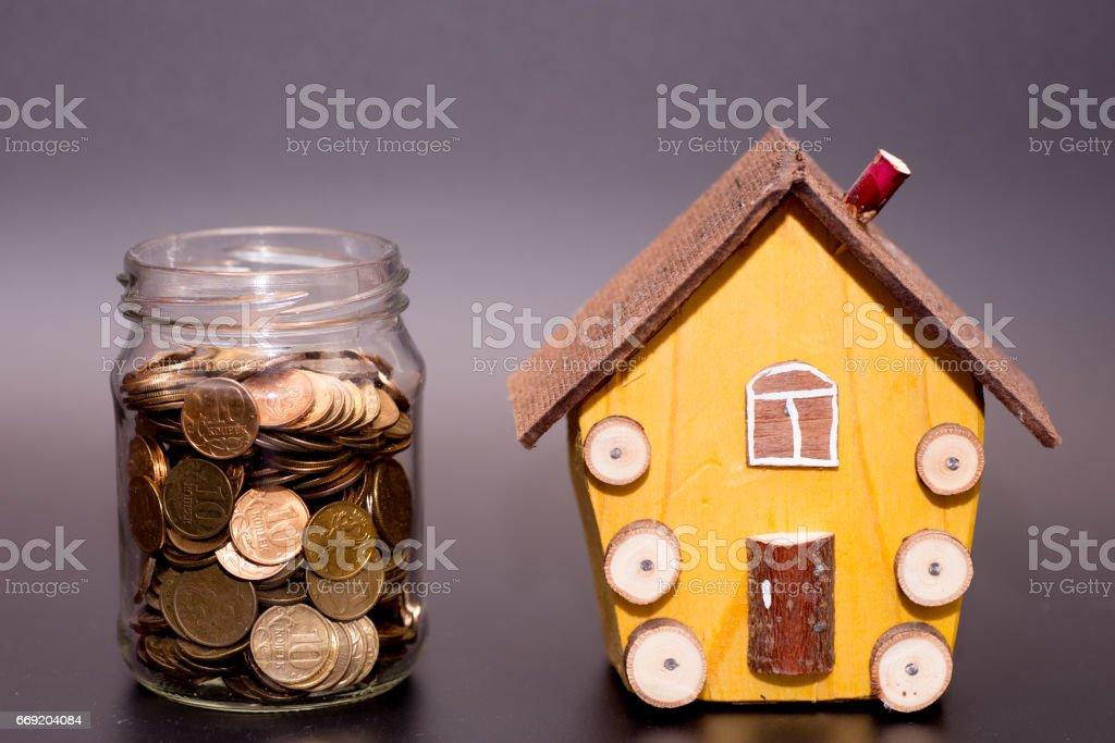 family saving money stock photo