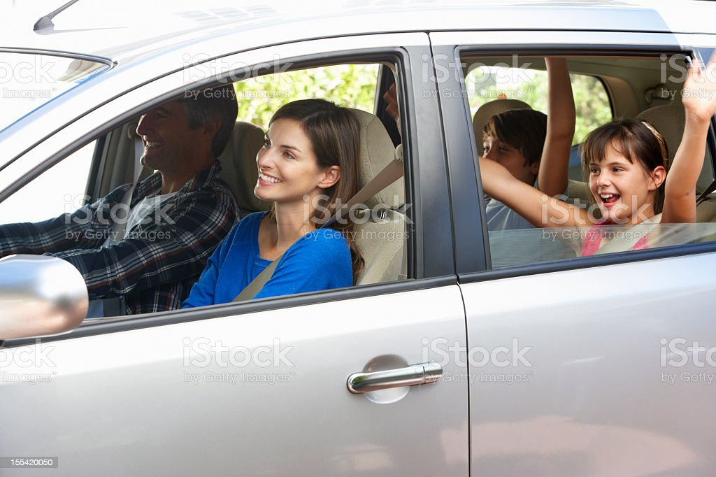 Family Setting Off On Car Journey stock photo