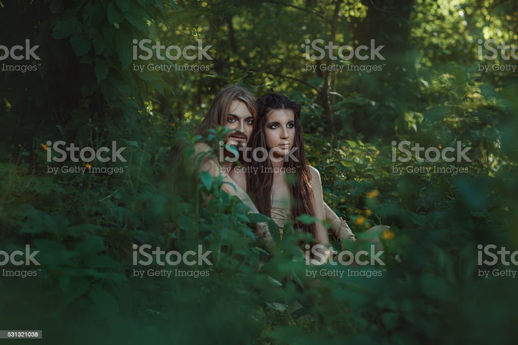 Family settled in the forest. stock photo