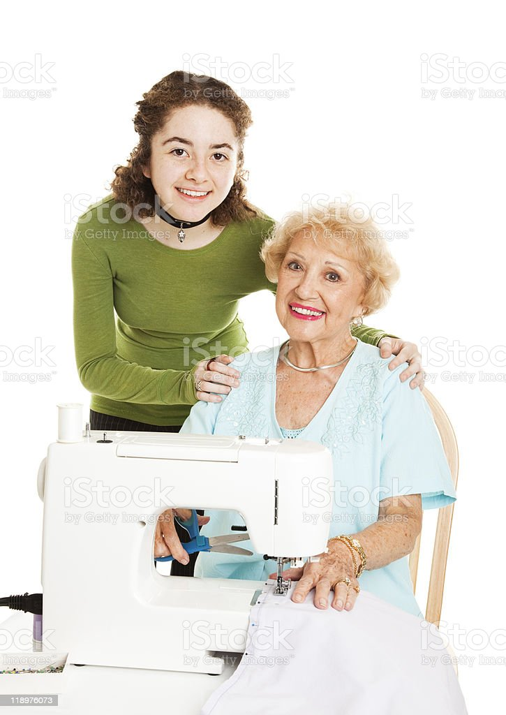 Family Sewing Project royalty-free stock photo