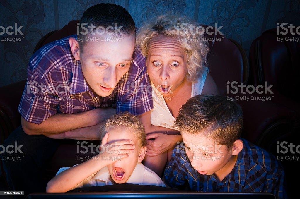 family shocked for TV stock photo