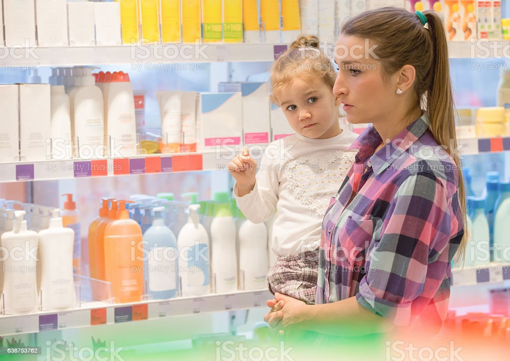 Family shopping for hygiene products stock photo