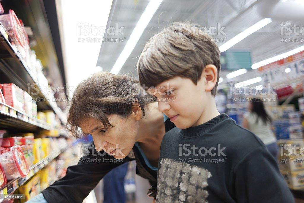 Family Shopping in Supermarket stock photo