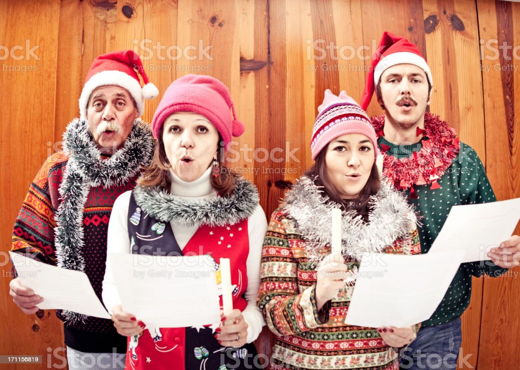 Family singing Christmas songs stock photo