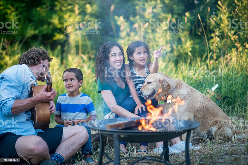 Family Singing Songs Around the Campfire stock photo