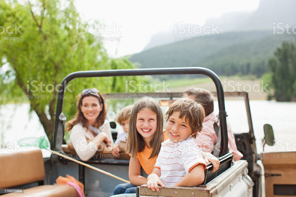 Family sitting in vehicle stock photo