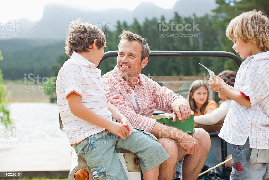 Family sitting in vehicle royalty-free stock photo