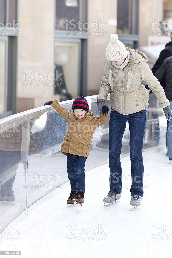 family skating royalty-free stock photo