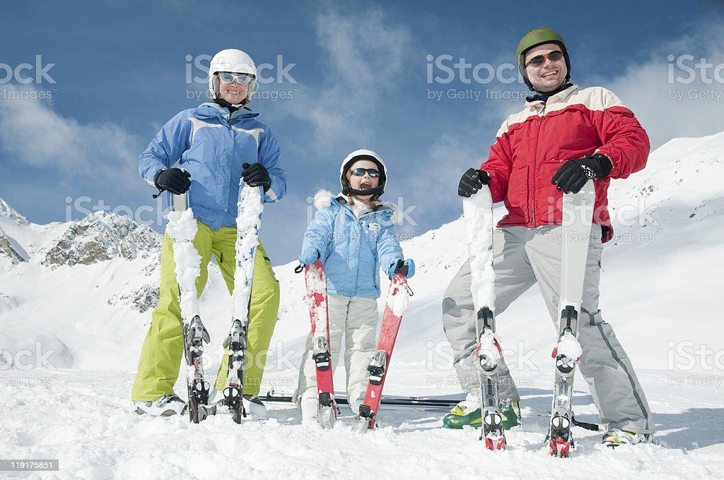 Family, ski, sun and fun royalty-free stock photo