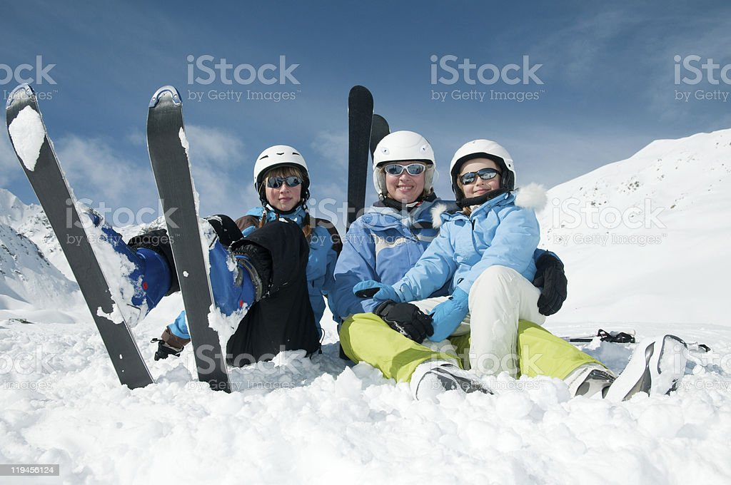 Family ski team royalty-free stock photo